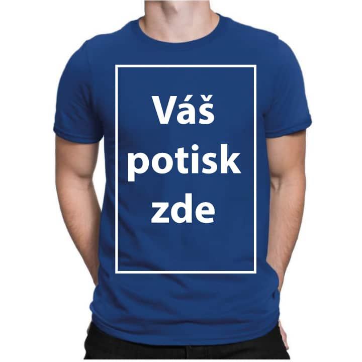 Modré pánské tričko s vlastním potiskem - HerníTriko.cz e6fec6cce6