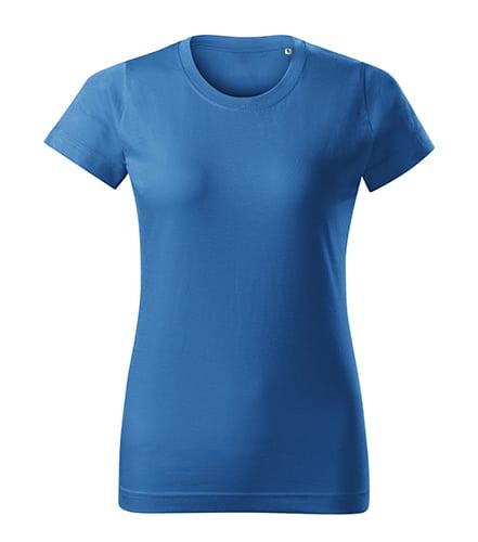 Azurově modré dámské tričko bez potisku
