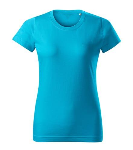 Tyrkysové dámské tričko bez potisku